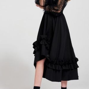 Storets Skirts - ruffle black wide flare skirt